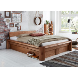 TAIGA Bett 180x200 mit Bettkästen & Lattenrosten Pinie massiv