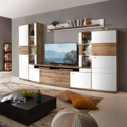 TERRA PLUS-TOP Wohnwand 4-tlg weiß matt Eiche MDF + Beleuchtung