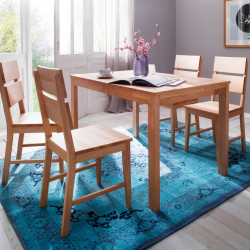 FARO Tischgruppe 5-teilig Esstisch 125x80 cm + 4 Stühle KARIN Buche geölt