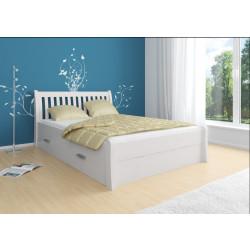 Bett mit Stauraum 140x200 aus Kiefer Massivholz weiß TONDER