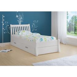 Bett mit Stauraum 90x200 aus massive Kiefer weiß TONDER