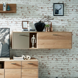 TOPAZ Highboard 5-trg 2-Sk Wildeiche massiv gebürstet Bianco