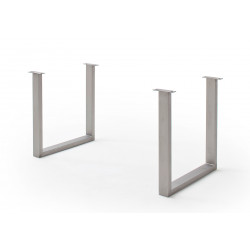 CALVERA Tischgestell U-Form Edelstahl gebürstet 2er Set