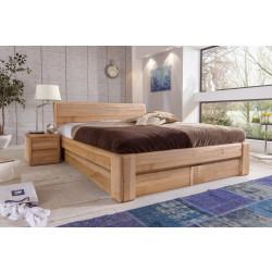 Bett 180x200 Kernbuche massiv mit Holzkopfteil Bettkasten und Lattenrost VERONA