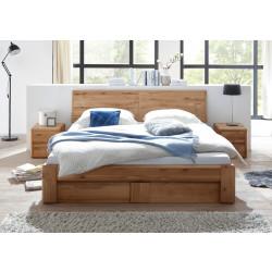 Bett 160x200 Wildeiche massiv mit Holzkopfteil Bettkasten und Lattenrost VERONA