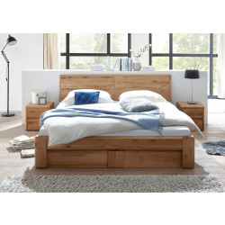 Bett 200x200 Wildeiche massiv mit Holzkopfteil Bettkasten und Lattenrost VERONA