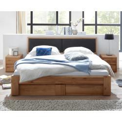 Bett 160x200 Wildeiche massiv mit Bettkasten und Lattenrost VERONA