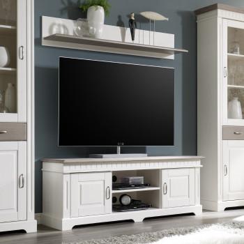 TV-Lowboard mit Wandregal weiß Massivholz 144 cm CORDOBA