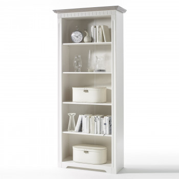 CORDOBA Bücherregal Kiefer massiv weiß/taupe
