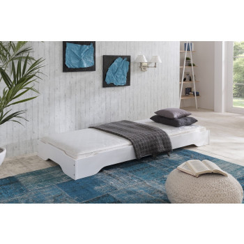 Stapelbett mit Matratze 90x200 cm Kiefer massiv weiß Sylt