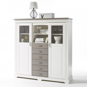 Highboard weiß Kiefer massiv Cordoba