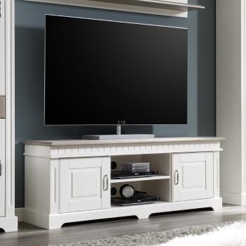 CORDOBA Lowboard 2-trg TV-Kommode Kiefer massiv weiß/taupe