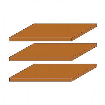 SEVILLA 3x schmale Fachböden für 4-türigen Schrank Kiefer Honig