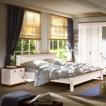 SEVILLA Doppelbett 180x200 cm Kiefer massiv weiß niedriges Fußteil