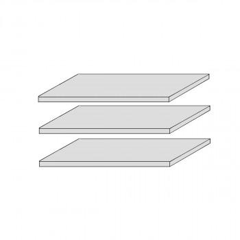 CORDOBA 3x Stück Fachböden für Vitrine Kiefer massiv weiß/taupe