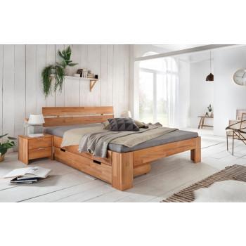 Bett mit Schublade 160x200 + 2x Nachttischen Kernbuche massiv Alice-2