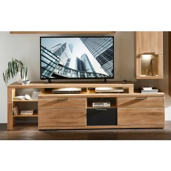 TV-Lowboard mit Aufsatz Wildeiche Bianco teilmassiv inkl. Beleuchtung Bianco