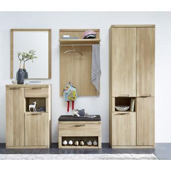 Garderoben Set aus Eiche 5-teilig teil-massiv Nr.80 Bianco