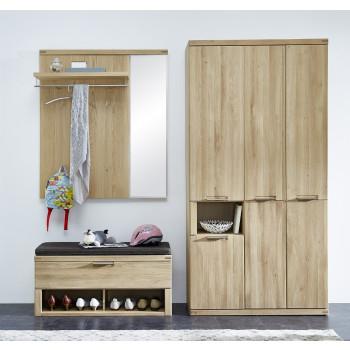 Garderoben Set aus Eiche 3-teilig teil-massiv Nr.81 Bianco