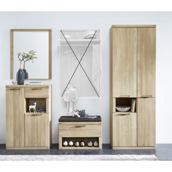 Garderoben Set aus Eiche 4-teilig teil-massiv Nr.80-S Bianco