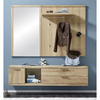 Garderoben Set aus Eiche 3-teilig teil-massiv Nr.82 Bianco
