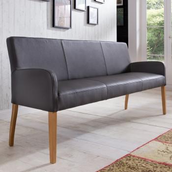 Sitzbank aus Leder 163 cm mit Holzgestell Alfo