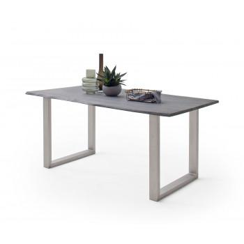CALVERA Esstisch 160x90 Akazie grau sandgestrahlt Platte 25mm U-Form Edelstahlgestell