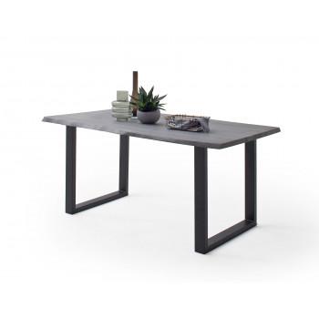 Esstisch 180x100 Akazie grau Platte 30mm Metallgestell U anthrazit CALVERA
