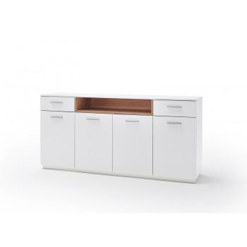 CESINA von MCA Sideboard 4-trg 2-Sk weiß matt & Asteiche