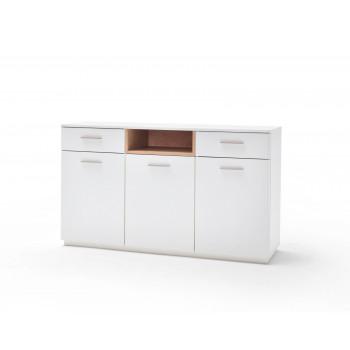 CESINA von MCA Sideboard 3-trg 2-Sk weiß matt & Asteiche