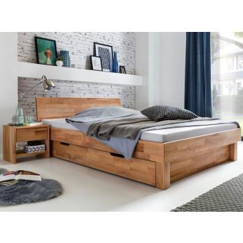 Bett mit Schublade 200x200 und 2x Nachttischen Kernbuche massiv Celine