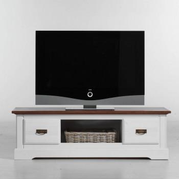 PORTO TV-Lowboard Pinie massiv weiss & cognac