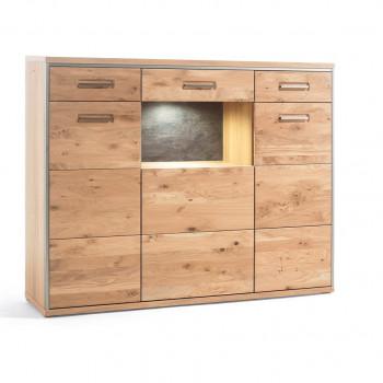 ESPERO von MCA Highboard 3-trg Glas/Holz 2-Sk Asteiche BIANCO teilmassiv
