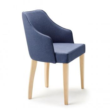 Armlehnstuhl aus Stoff mit Holzgestell Eva