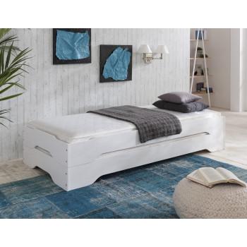 Stapelbetten-Set mit Matratzen 2x 90x200 cm Kiefer massiv weiß Sylt