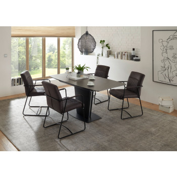 Essgruppe Keramik Esstisch mit 4 Stühlen Metall schwarz Ferrara-Altena