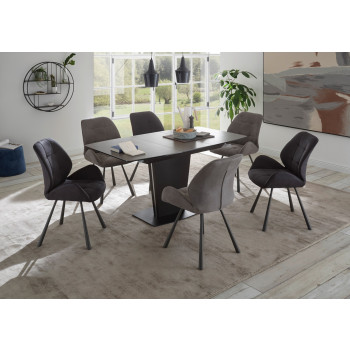 Essgruppe Keramik 7-teilig Tisch Stühle 4x hell und 2x dunkel grau Ferrara