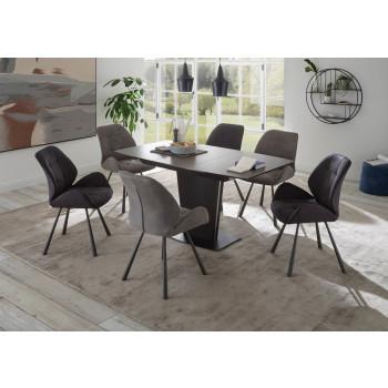 Essgruppe Keramik 7-teilig Tisch Stühle 2x hell und 4x dunkel grau Ferrara