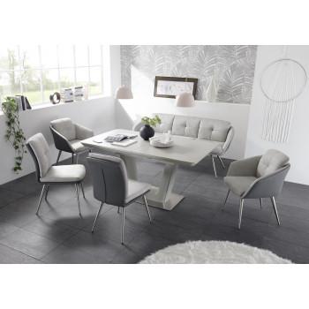 Essgruppe Keramik 6-teilig Tisch Sitzbank Stühle grau Scala