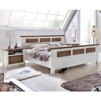 LAGUNA Doppelbett Pinie teilmassiv weiß braun