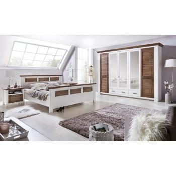 LAGUNA Schlafzimmer Set mit Schrank 5-trg Bett 160x200 Pinie teilmassiv weiß braun