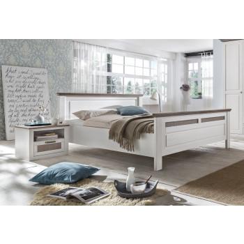 Doppelbett weiß grau Pinie Größe wählbar Locarno