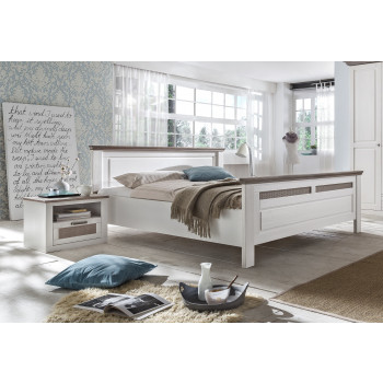 LOCARNO Doppelbett Pinie teilmassiv weiß grau