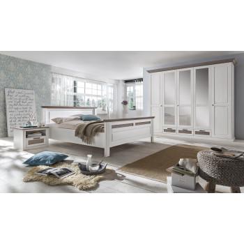 LOCARNO Schlafzimmer Set Drehtürenschrank 5-türig Bett 200x200 Pinie massiv weiß grau