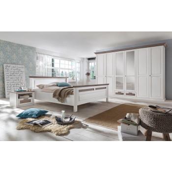 LOCARNO Schlafzimmer Set Drehtürenschrank 6-türig Bett 180x200 Pinie massiv weiß grau