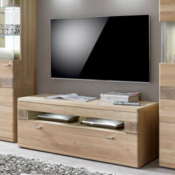 MILANO TV-Lowboard 129 cm Eiche Bianco geölt teilmassiv