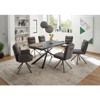 Essgruppe Keramik 7-teilig Tisch Stühle Armlehnstühle Modena