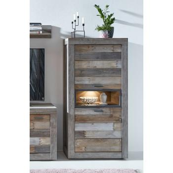 SANTA FE Vitrine halbhoch 2-trg Driftwood NB inkl Beleuchtung
