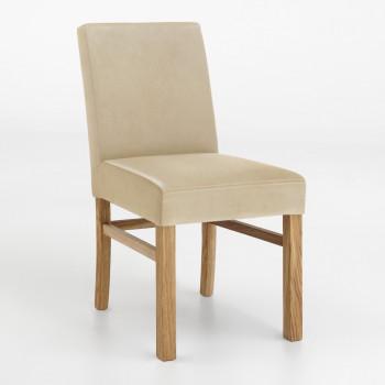 Esszimmerstuhl aus Leder mit Holzgestell Sophie