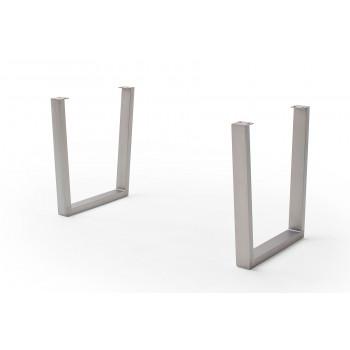 CALVERA Tischgestell Trapezform Edelstahl gebürstet 2er Set